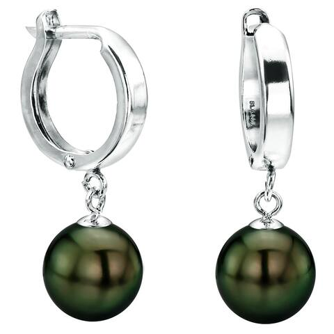 DaVonna 14k White Gold 8-8.5 Hand-picked Round Black Tahitian Cultured High Luster Pearl Dangle Earring