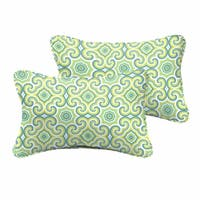 Oliver Lime Green/ Aqua Indoor/ Outdoor 13 x 20 Inch Corded Pillow Set