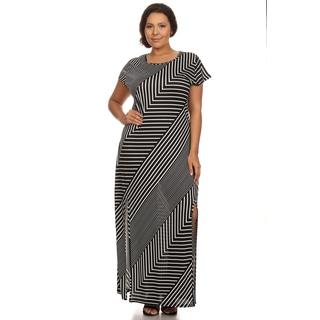 Xehar Women's Plus Size Chevron Stripe Side Slit Maxi Long Dress