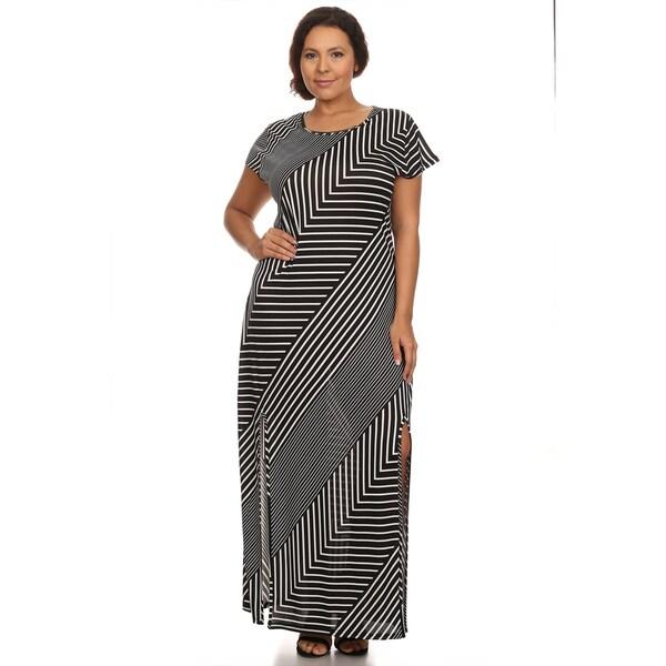 Shop Xehar Women\'s Plus Size Chevron Stripe Side Slit Maxi ...