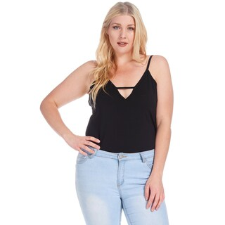Xehar Women's Plus Size Casual V-Neck Spaghetti Strap Bodysuit