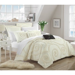 Chic Home Rosamond Bed-In-A-Bag Cream Comforter 7-Piece Queen Size Set in Cream (As Is Item)