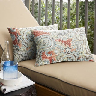 Corragan Coral Paisley Indoor/ Outdoor 13 x 20 Inch Knife Edge Pillow Set