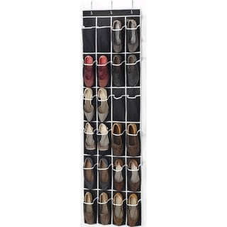 Zober Over the Door Shoe Organizer 24 Pockets Black
