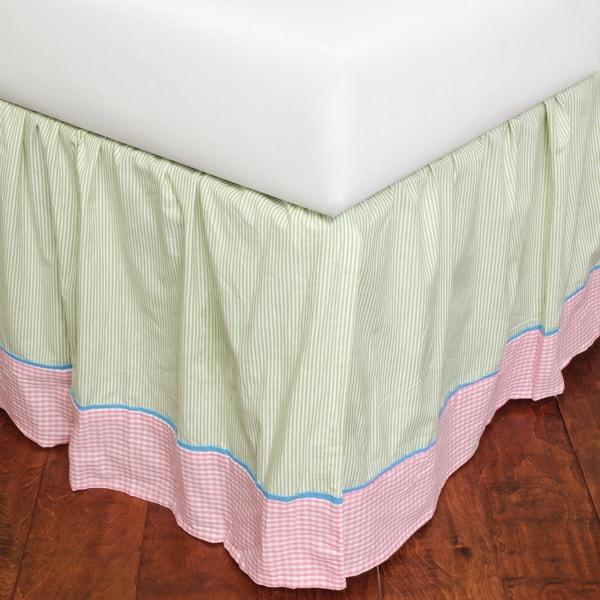 Gingham Stripe 18-inch Drop Bed Skirt