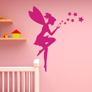 Apply and Style Fairy and Stars Pink 37-inch x 44-inch Wall Decal Sticker, Girl's Room Vinyl Wall Art, Nursery Wall Decor