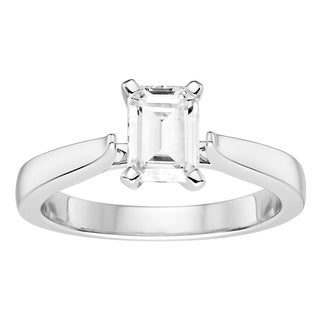 Charles   Colvard 14k White Gold 1ct DEW Emerald Cut Forever One Near Colorless Moissanite Solitaire