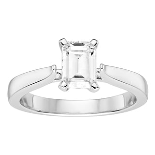 Charles & Colvard 14k White Gold 1ct DEW Emerald Cut Forever One Near Colorless Moissanite Solitaire Ring