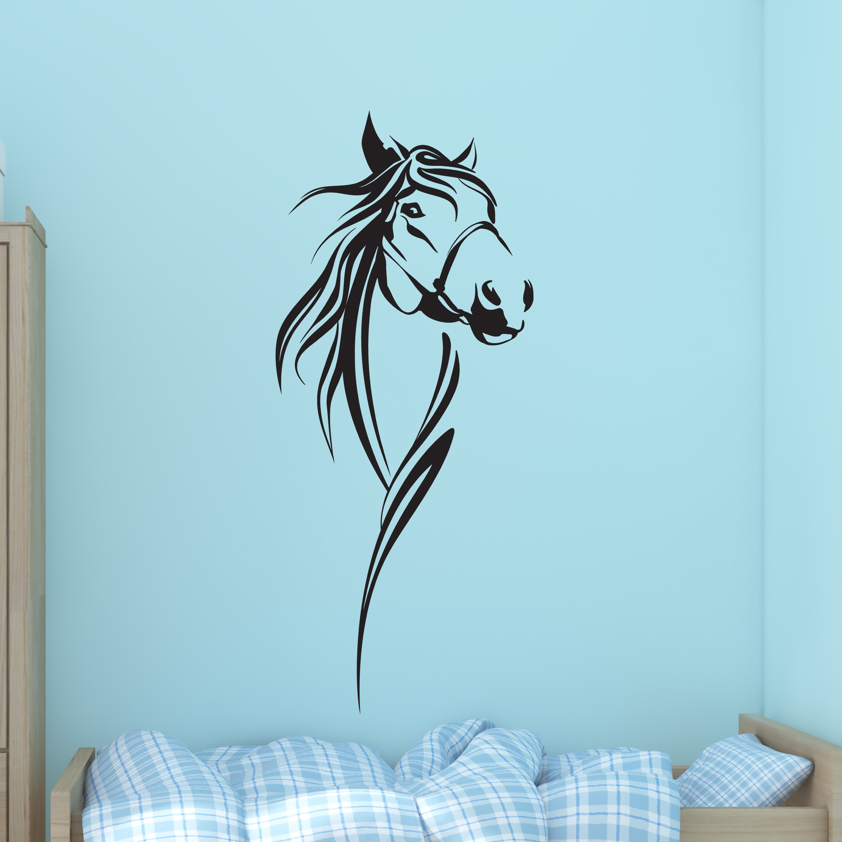 S&A Black Vinyl Horse Wall Decal Sticker (Color)