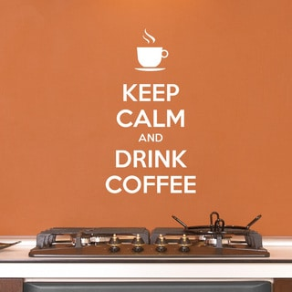 Style and Apply 'Keep Calm And Drink Coffee' Brown 22-inch x 41-inch Wall Decal Sticker, Vinyl Wall Art, Nursery Wall Decor
