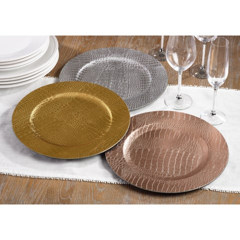 Reptile Textured Pattern Decorative Charger Plate - Set of 4