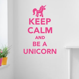 Style and Apply Keep Calm And Be A Unicorn Pink 27-inch x 40-inch Wall Decal Sticker