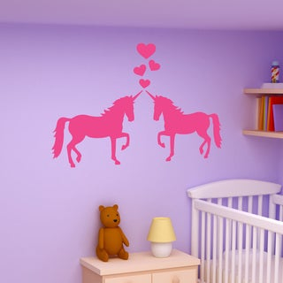 Style and Apply Unicorns In Love Pink Vinyl Wall Decal Sticker