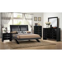 Blemerey 110 Black Wood Arch-Leg Bed Group with King Bed, Dresser, Mirror, Night Stand and Chest