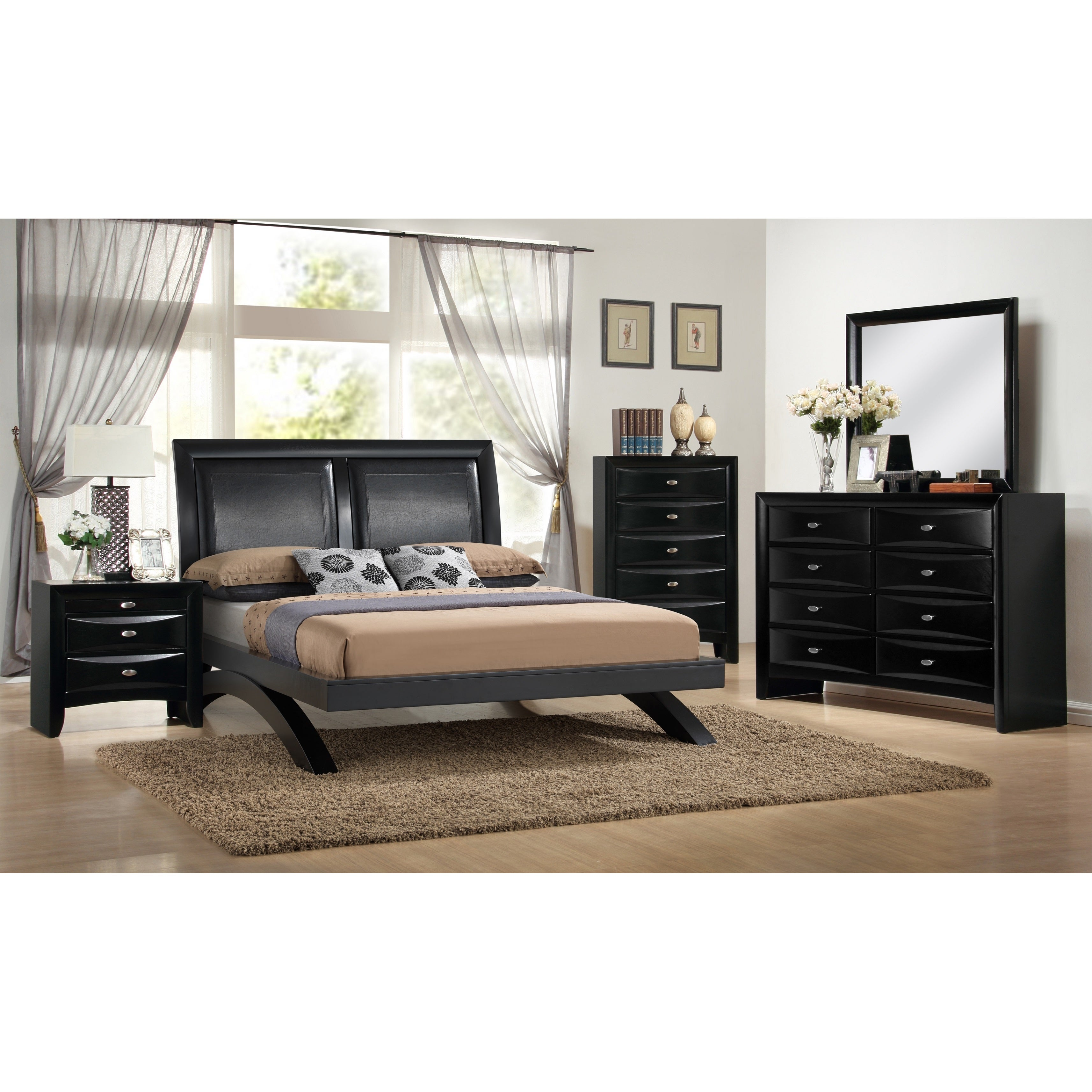 Blemerey 110 Black Wood Arch-Leg Bed Group with Queen Bed, Dresser ...