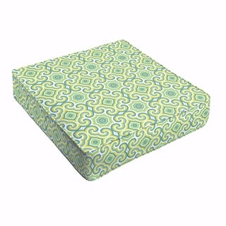 Oliver Lime Green/ Aqua Indoor/ Outdoor 22.5 Inch Square Corded Cushion