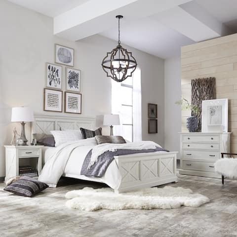 The Gray Barn Riverbone X-detail Queen Bed, Nightstand, and Chest