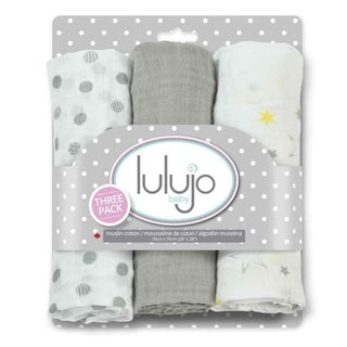 Lulujo Calming Grey Mini Muslin Cloth (3 Pack)