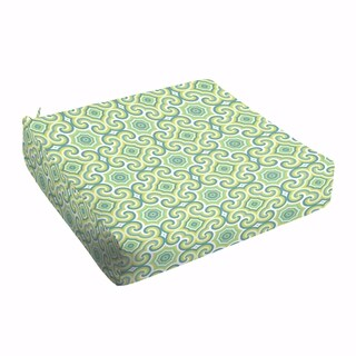 Oliver Lime Green/ Aqua Indoor/ Outdoor Round Front 22.5 Inch Square Cushion