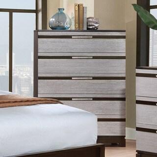 Furniture of America Neolin Contemporary Two-Tone Silver/Espresso 5-drawer Chest