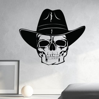 Style and Apply Skull With Cowboy Hat Wall Decal