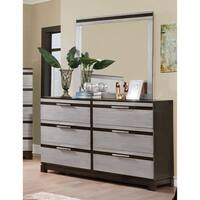 Furniture of America Neolin Contemporary 2-Piece Two-Tone Silver/Espresso Dresser and Mirror Set