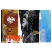 "Epic Graffiti ""Angel Buddha"" by Elena Ray Giclee Canvas Wall Art - Blue"