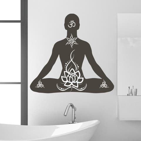 Style and Apply Lotus Pose Vinyl Wall Decal