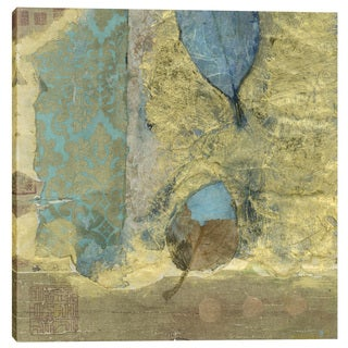 Epic Graffiti Elena Ray 'Wabi-Sabi Leaf' Giclee Canvas Wall Art - Blue