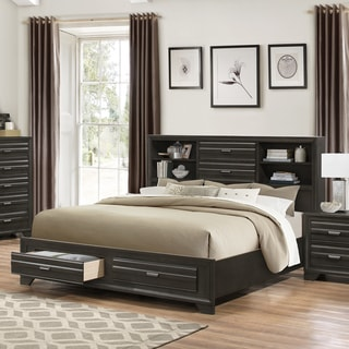 Loiret Antique Grey Finish Wood King Size Storage Platform Bed