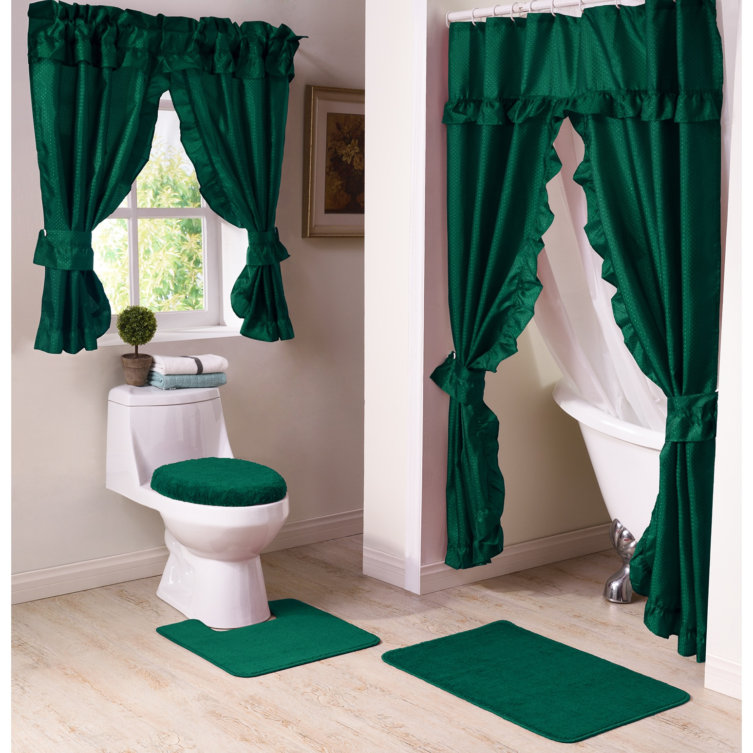 Green Moss and Forest Shower Curtain Toilet Cover Rug Bath Mat Contour Rug Set