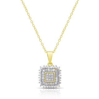 Finesque Sterling Silver or Gold over Silver 0.53ct TDW Diamond Square Necklace (I-J, I2-I3)