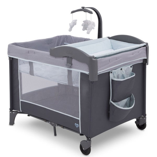 Delta Children Eclipse LX Deluxe Playard - Blue/Grey - 27 x 37 x 40