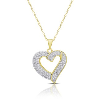 Finesque Sterling Silver or Gold over Silver 1/2ct TDW Diamond Heart Necklace (Option: Pink)