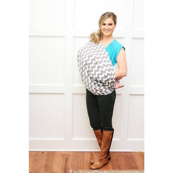 Grey Chevron Itzy Ritzy Nursing Happens Infinity Breastfeeding Scarf