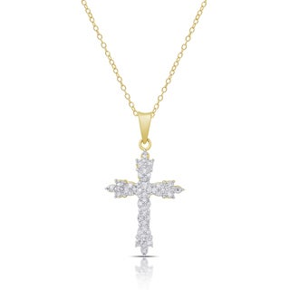 Finesque Gold over Silver or Sterling Silver 1/4ct TDW Diamond Cross Necklace