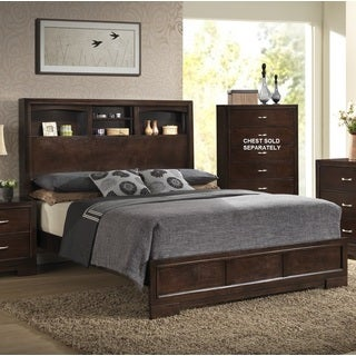 Montana Walnut Wood King Bed with Modern Bookcase