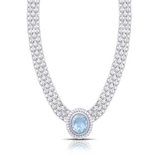 Dolce Giavonna Sterling Silver Blue Topaz Oval Necklace