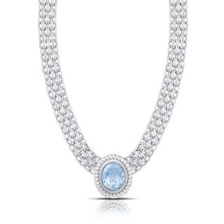 Dolce Giavonna Sterling Silver Blue Topaz Oval Necklace