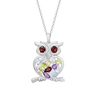 Dolce Giavonna Sterling Silver Multi Gemstone Owl Necklace