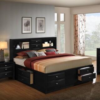 Blemerey 110 Black Wood Bookcase Storage Queen Bed