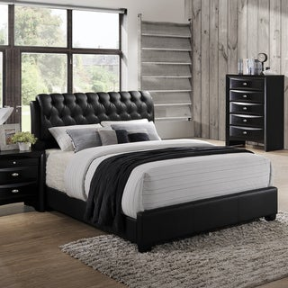 Blemerey 110 Black Bonded Leather Padded Queen Bed