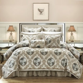 Chic Home 13-Piece Angelica Jacquard Luxury Beige Comforter Set