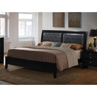 Blemerey Black Bonded Leather Padded Back Low Profile Queen Bed