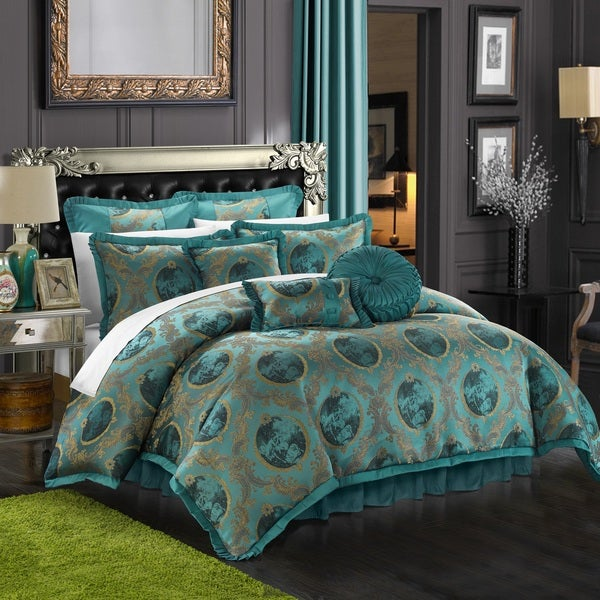 Chic Home 13-piece Angelica Jacquard Teal Luxury Comforter Set