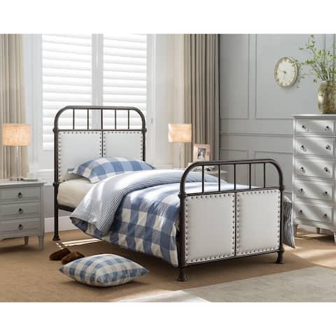 Pewter Upholstered Metal Bed