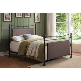 Pewter Upholstered Metal Bed