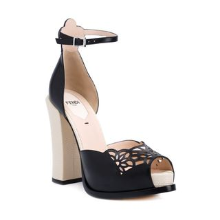Fendi Suede Laser Cut Chunky High Heel Platform Shoes