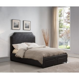 Faux Leather Dark Brown Upholstered Bed