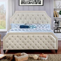 Furniture of America Pele Contemporary Beige Fabric Tufted Bed